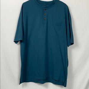 Redhead dark teal blue 3 button tee shirt size Lg